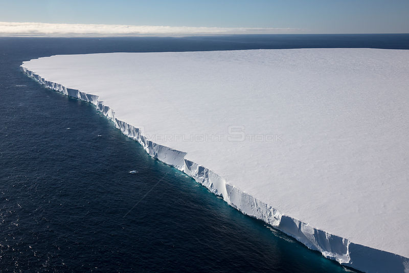 Aerial view of the Ross Ice Shelf, the largest ice shelf of Antarctica, near Cape Crozier, Ross Island, Ross Sea, Antarctica