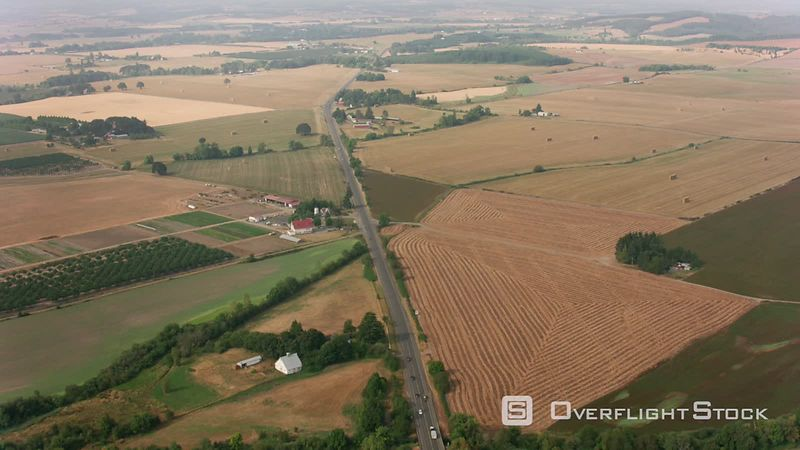 Oregon Aerial shot of Willamette Valley farmland and highway.  Shot with Cineflex and RED EpicW Helium.