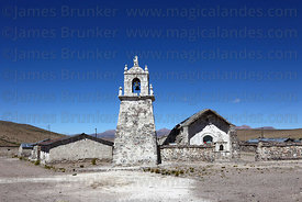 Guallatiri village church and bell tower , Las Vicuñas National Reserve , Region XV , Chile