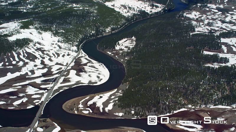 The Yellowstone River flows north through the Hayden Valley in Yellowstone National Park