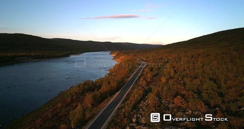 Mountain Road, Aerial View Over Road 970 the Tenontie, Near Tenojoki River, at the Border Between Norway and Utsjoki Town, on a Sunny Autumn Color Evening Dawn, in Utsjoki, Lapland, Lappi, Finland
