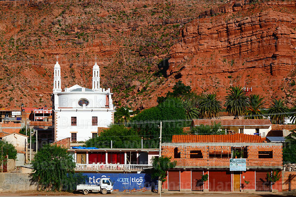 View of church and nearby rock formations, Camargo, Chuquisaca Department, Bolivia