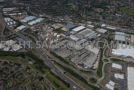 Birmnigham high level aerial photograph of Fort Dunlop Shopping Park Wingfoot Way