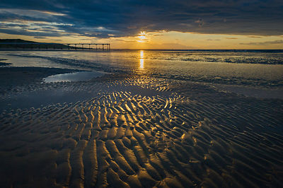 Sunset over Saltburn beach