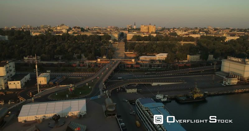 Drone flies from Odessa Seaport towards the Potemkin Steps and city centre . Ukraine