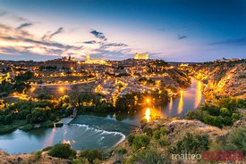 Cityscape at sunset with river Tagus, Toledo, Spain
