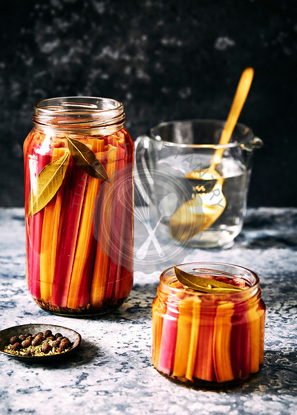 pickled rainbow chard with bay leaves, all spice and fennel seeds.