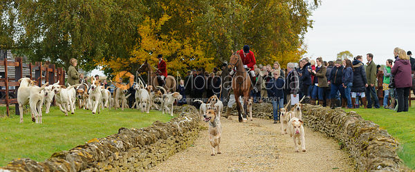Cottesmore hounds leaving the meet - The Cottesmore Hunt at Toft 27/10