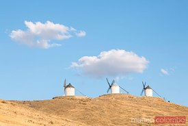 Windmills on a hill, Don Quixote route, Toledo, Spain