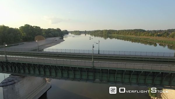 Aerial view of the Briare Aqueduct over the Loire river at sunset, filmed by drone, Loiret, France