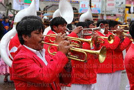 Trumpeters in brass band at Virgen de la Candelaria festival, Puno, Peru