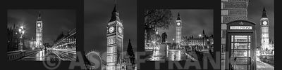 Collage of Big Ben, London, Black and White