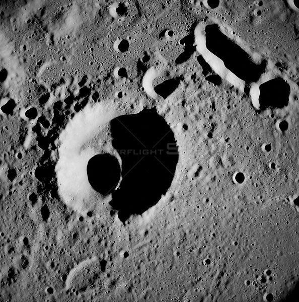 21-27 Dec. 1968) --- This near-vertical photograph from the Apollo 8 spacecraft covers an area of approximately 50 x 50 statute miles