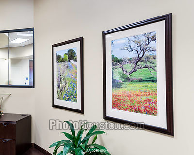 Framed art photography in bank lobby