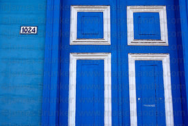 Colourful wooden door on Baquedano Street , Iquique , Region I , Chile