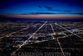 Aerial photograph of Chicago suburbs in the early evening