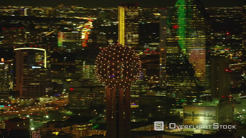 Dallas, Texas Aerial view of Reunion Tower ball and Dallas Texas at night