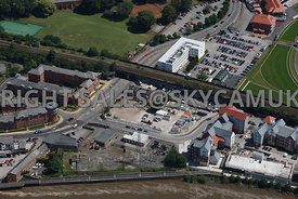 Chester aerial view of Saddlery Way and Kitchen street loking towards Holiday Inn Express on New Crane Street