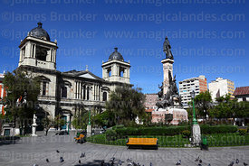 Cathedral and Murillo monument, Plaza Murillo, La Paz, Bolivia