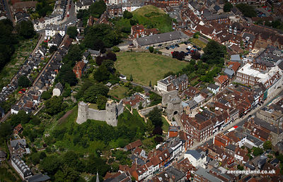 aerial photograph of Lewes Castle East Sussex   England UK