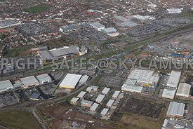 Widnes high level aerial photograph looking across old disused industrial land Dennis and Earle road towards Ashley Way and the retail parks