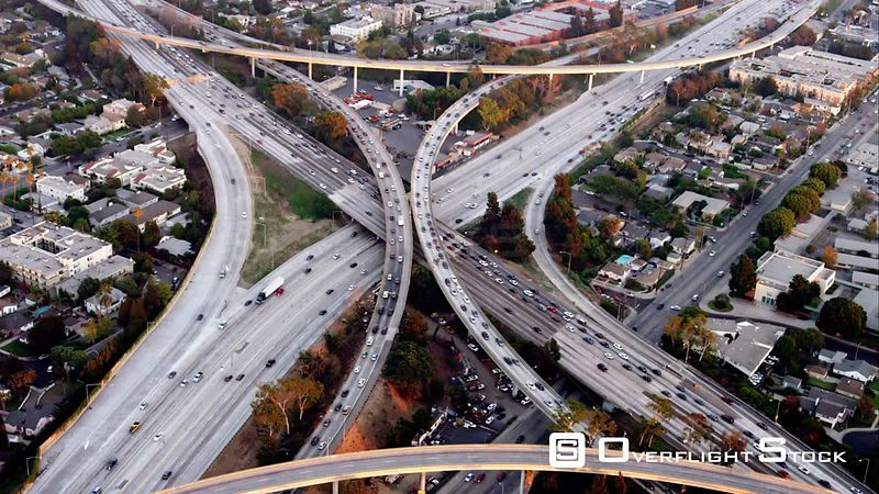 Circling Aerial View Of The I405 And I10 Freeway Intersection, One Of The Original 'Spaghetti Junctions', RED R3D 4k California