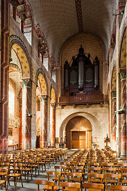 Nave and organ case of Issoire abbey church