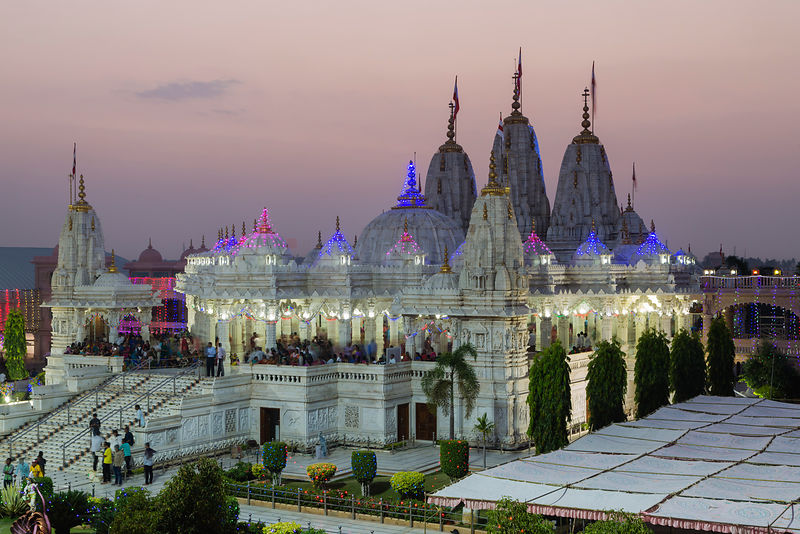 The Shree Swaminarayan Temple Decorated for Diwali