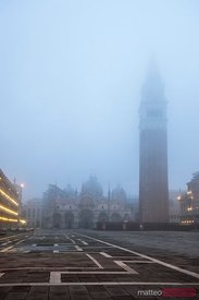 St Mark's square in the fog, Venice