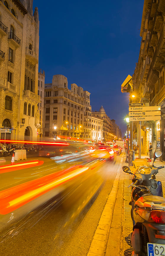 Night Traffic - Barcelona, Spain