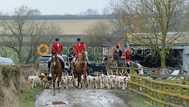 The combined Cottesmore and Quorn Hunt packs leaving the meet