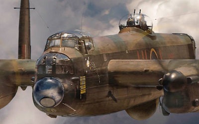 Avro Lancaster above clouds (detail)