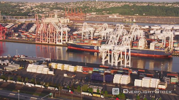 Seattle, Washington Aerial view of container ship at port.  Shot with Cineflex and RED EpicW Helium.