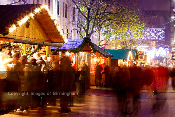 The German Market in Birmingham City Centre at Christmas. New Street.