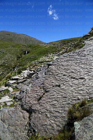 Symmetrical ripple marks in inclined strata next to section of Pre-Hispanic Inca Trail below Abra Calderillas pass, Cordillera de Sama Biological Reserve, Bolivia