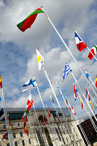 International flags outside of Baskerville House, Centenary Square, Birmingham, UK