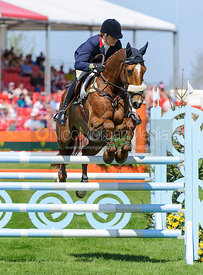 Pippa Funnell and REDESIGNED - show jumping phase,  Mitsubishi Motors Badminton Horse Trials, 6th May 2013.