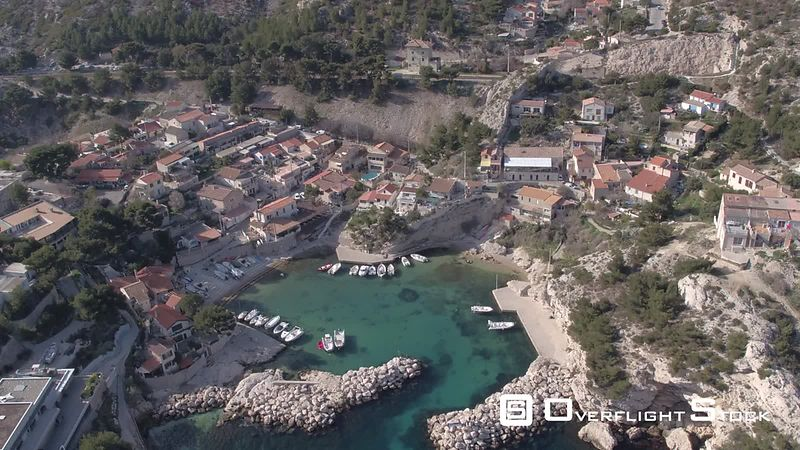 Aerial view from Niolon to La Vesse port, Calanque de La Vesse, filmed by drone, Le Rove, France