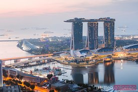 Elevated view of Marina Bay Sands at sunrise, Singapore