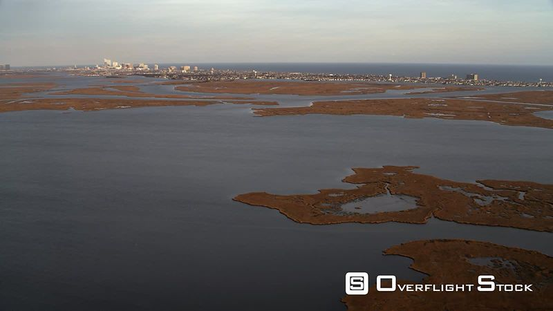 Approaching Atlantic City from marshland in west. Shot in November