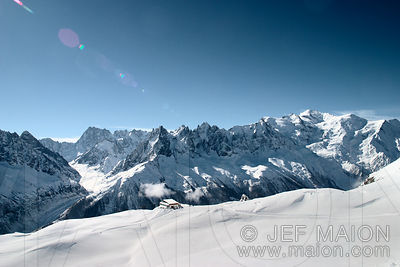 Mont Blanc Range seen from the Aiguilles Rouges