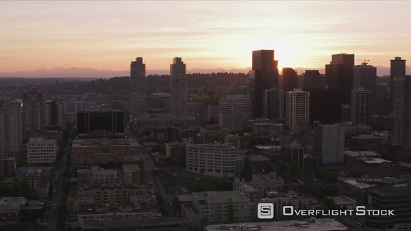 Seattle, Washington Aerial view of Seattle at sunrise.  Shot with Cineflex and RED EpicW Helium.