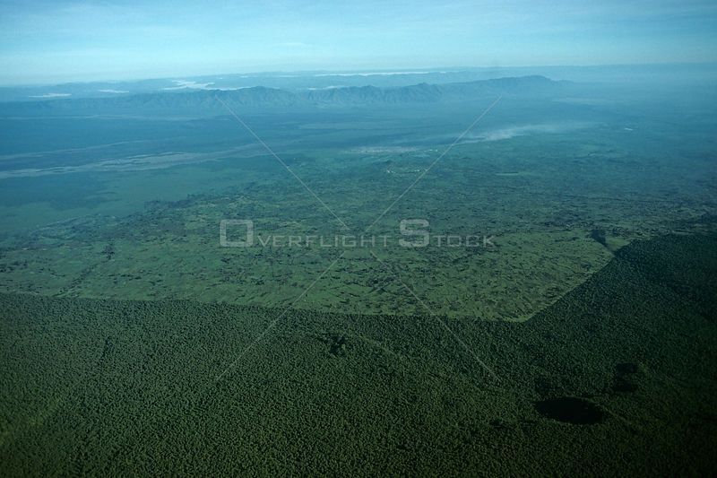 Aerial view of demarkation of Virunga NP park boundary and surrounding cultivation, Democratic Republic of Congo (formerly Zaire) Central Africa