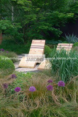 Border, Chair, Contemporary garden, Garden furniture, Natural garden, Resting area, Wild garden, Digital, Grasses, Scenery, Summer