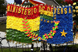 Detail of floral tribute with the Bolivian national flag (L) and the Navy flag (R) from the Ministry of Defence,  Dia del Mar / Day of the Sea, La Paz, Bolivia