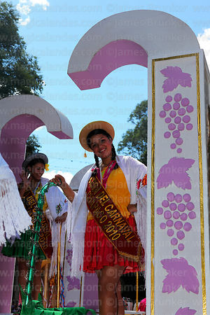 Carnival queens on float during parades, Tarija, Bolivia