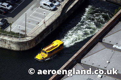 aerial photograph of the Yellow Duckamrine amphbious vehicle in Liverpool docks