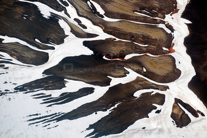Aerial view of mountain landscape and snow, Landmannalaugar, Iceland, June 2014.