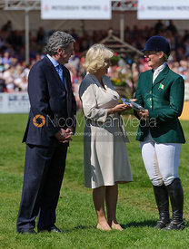 Elizabeth Power receives her prize from the Duchess of Cornwall  - show jumping phase,  Mitsubishi Motors Badminton Horse Trials, 6th May 2013.