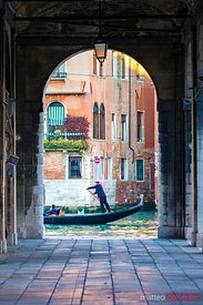 Gondola passing on Grand canal, Venice